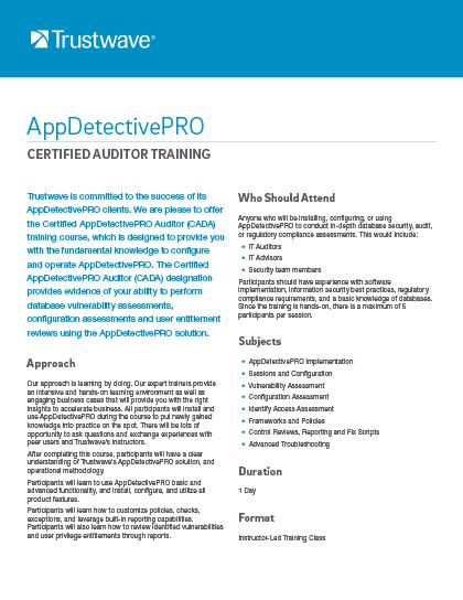 AppDetectivePRO Auditor Training Data Sheet | Trustwave