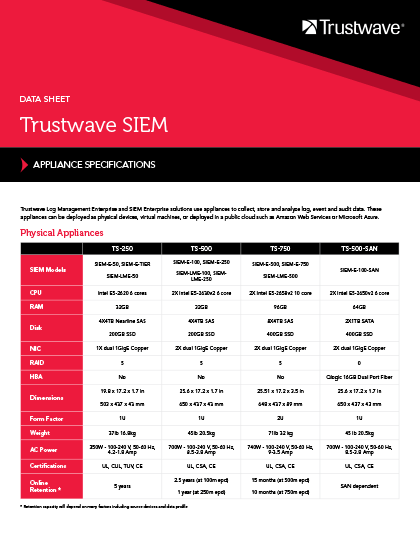 Trustwave SIEM Appliances | Trustwave Document | Trustwave