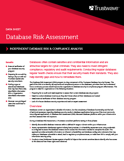 Database Risk Assessment Service Data Sheet Trustwave